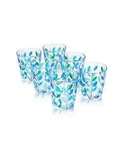 Due Zeta | Sospiri Blue Hand Decorated Murano Shot Glass Set Of Six