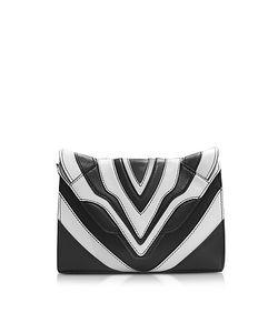 Elena Ghisellini | Felina Mignon Graphic Lines White Leather Crossbody