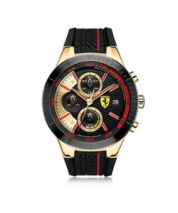 Ferrari | Redrev Evo Gold Tone And Red Stainless Steel Case And Silicone