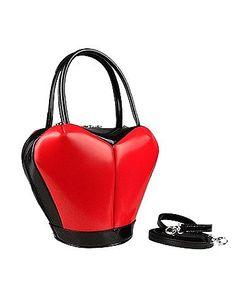 Fontanelli | Heart Shape Italian Polished Leather Handbag