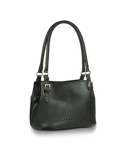 Fontanelli | Black Stiched Soft Leather Handbag