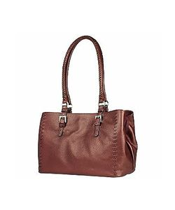 Fontanelli | Metallic Burgundy Stitched Soft Leather Satchel Bag