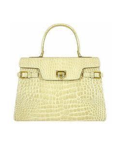 Fontanelli | Shiny Sand Croco-Style Leather Handbag