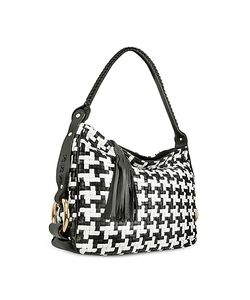 Fontanelli | Black And White Houndstooth Woven Leather Tote Bag