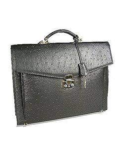 Fontanelli | Ostrich Stamped Calf Leather Briefcase
