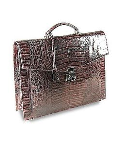 Fontanelli | Croc-Embossed Leather Briefcase