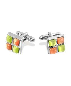 Forzieri | Yellow And Orange Stones Plated Cuff Links