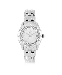 Forzieri   Roma Stainless Steel And Crystals Womens Watch