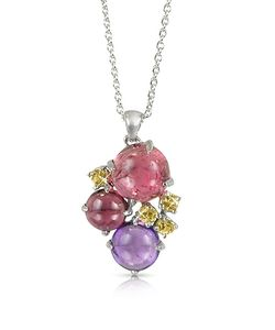 Mia & Beverly | Gemstones 18k White Gold Pendant Necklace