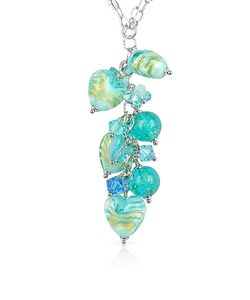 House of Murano | Mare Turquoise Murano Glass Heart Drop Necklace