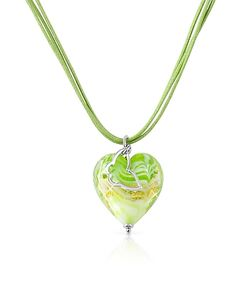 House of Murano | Mare Lime Murano Glass Heart Pendant Necklace