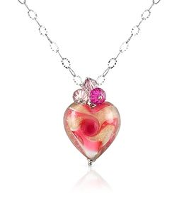 House of Murano | Vortice Pink Murano Glass Swirling Heart Sterling Silver Necklace
