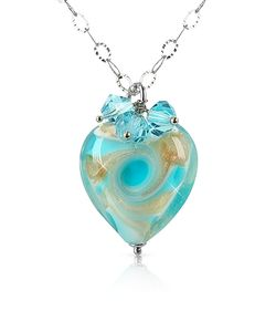 House of Murano | Vortice Murano Glass Swirling Heart Sterling Silver Necklace