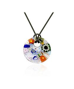 Akuamarina | Iris Multicolor Murano Glass Pendant W/Rubber Lace