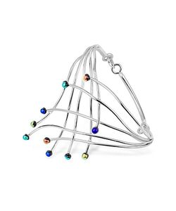 Forzieri | Fireworks Glass Stones Sterling Silver Cuff Bracelet