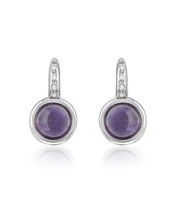 Mia & Beverly | Amethyst And Diamond 18k White Gold Earrings