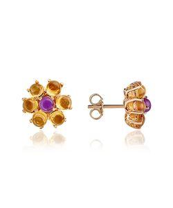 Forzieri   Amethyst And Citrine Flower 18k Earrings