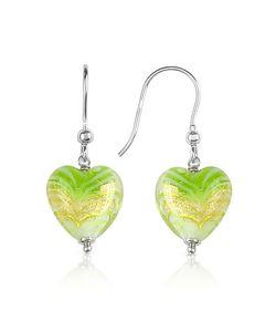 House of Murano | Mare Lime Murano Glass Heart Drop Earrings