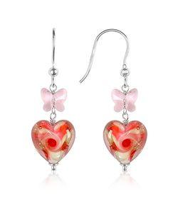 House of Murano | Vortice Pink Swirling Murano Glass Heart Earrings