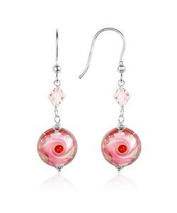 House of Murano | Vortice Pink Swirling Murano Glass Bead Earrings