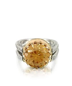 Tryò | Champagne Cubic Zirconia Sterling Silver Rose Ring