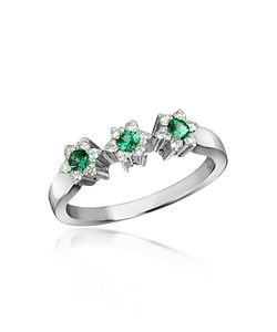 Incanto Royale | 18k Gold Emerald And Diamond Trilogy Flower Ring