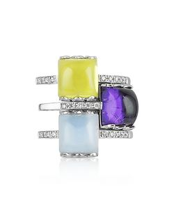 Mia & Beverly | Gemstone And Diamond 18k White Gold Ring