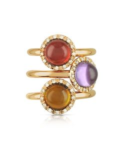 Mia & Beverly | Gemstone And Diamond 18k Rose Gold Ring