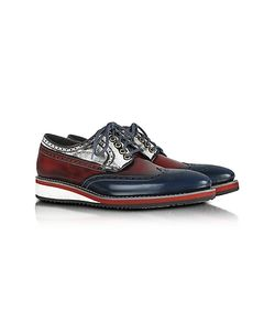 Forzieri | Red White And Blue Leather Wingtip Derby Shoes