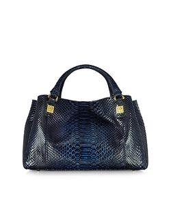 Ghibli | Midnight Blue Phyton Leather Satchel Bag