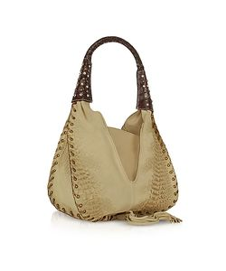 Ghibli | Jeweled Beige Suede And Reptile Leather Hobo Bag