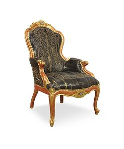Ghibli | Black Embroidered Reptile Leather Louis Philippe Armchair