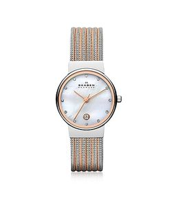 Skagen | Ancher Two Tone Striped Stainless Steel Mesh Womens Watch