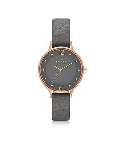 Skagen | Anita Rose Goldtone Stainless Steel Womens Watch W/Gray Leather Band
