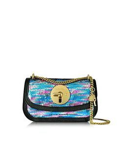 See by Chloé | Lois Shadow Blue Sequins And Leather Mini Shoulder Bag