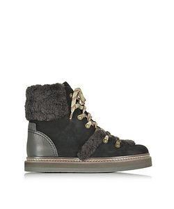 See by Chloé | Dark Brown And Suede Boot W/Shearling Detail