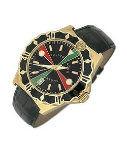 Julius Legend | Sea Fortune Diver 18k Gold And Leather Watch