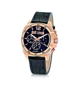 Just Cavalli | Just Escape Chronograph Rose Gold Steel W/ Croco Embossed Leather Mens