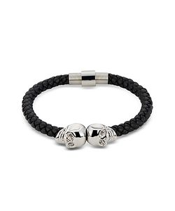 Northskull | Nappa Leather Rhodium Twin Skull Mens Bracelet