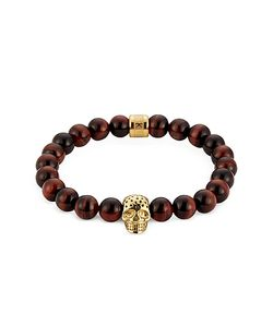 Northskull | Tiger Eye Perforated Gold Skull Charm Bracelet