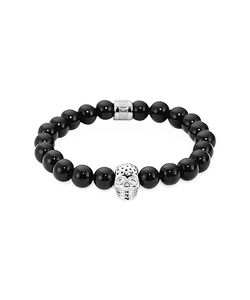 Northskull | Onyx Perforated Skull Mens Bracelet