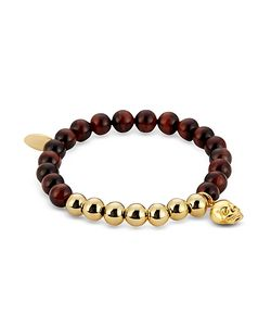 Northskull | Tiger Eye Gold Skull Charm Bracelet