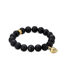 Northskull | Matte Onyx/Gold Skull Bracelet With Crystal