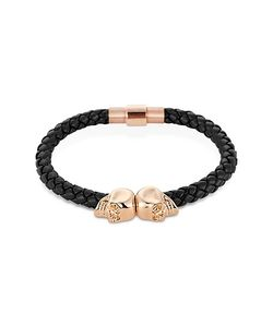 Northskull | Nappa Leather/ 18kt. Rose Gold Twin Skull Bracelet