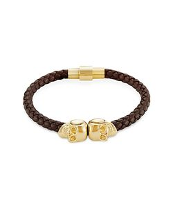 Northskull | Nappa Leather/ 18kt. Gold Twin Skull Bracelet