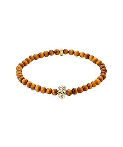 Northskull | Tiger Eye Golden Clear Crystal Micro Skull Bracelet