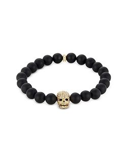 Northskull | Matte Onyx/Gold Skull Bracelet With Crystals