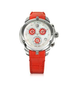 Tonino Lamborghini | Shield Lady Tone Stainless Steel And Red Croco Print Leather