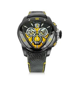 Tonino Lamborghini | Stainless Steel Spyder Chronograph Watch W/Yellow Dial