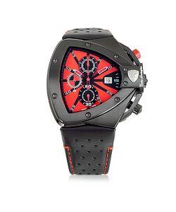 Tonino Lamborghini | Stainless Steel Horizontal Spyder Chronograph Watch W/Red Dial
